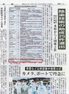 業界唯一!志賀塗装の除染技術が独立行政法人日本原子力研究開発機構(JAEA)』の平成23年度〈除染技術実証試験事業〉採択業者に選ばれました。
